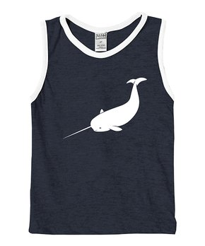 ff47ca23 Urban Smalls | Heather Navy & White Narwhal Muscle Tank - Boys