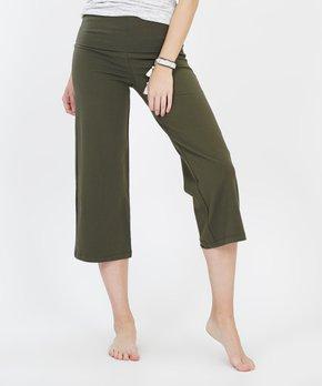 fbb713d0095ef0 Lydiane   Dark Olive Fold-Over Capri Yoga Pants - Women