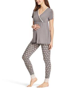 4d31b039c2873 Lamaze Maternity Intimates | Charcoal Lace Trim Pajama Set