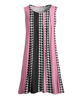 6071204f05d Lily | Rose & Black Houndstooth Stripe Pleated Sleeveless Tunic - Wom…