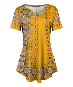 36be34b5a77 Lily | Gold & Black Tapestry Short-Sleeve V-Neck Tunic - Women