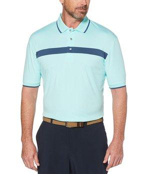 1089b3fc PGA TOUR | Aruba Blue Single-Stripe Short Sleeve Polo - Men