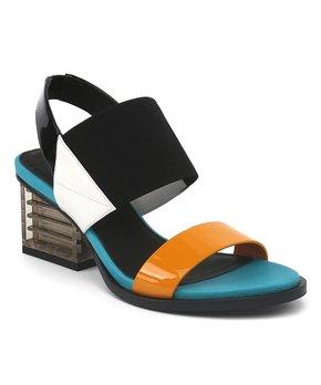 be7c5b5a42 Jady Rose | Blue & Black Chunky Heel Leather Pump - Women