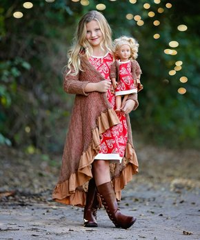 007f3b4bd Lilli Lovebird | Caramel Brown Hi-Low Duster & Doll Duster - Girls