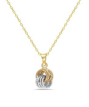 151196767 Moricci | 10k Gold & 10k White Gold Diamond-Cut Love Knot Pendant Nec…