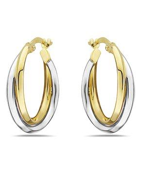 04e37cb3e Moricci | 10k Gold & 10k White Gold Two-Tone Intertwined Hoop Earrings