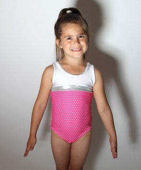 ea7a89ff42a8 D&M Leotards | Pink & White Polka Dot Leotard