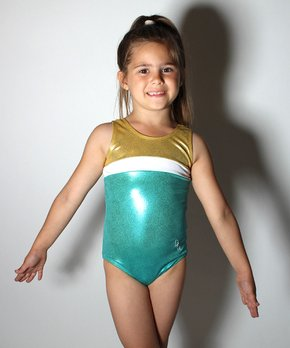 fe61dfd25087 D&M Leotards | Teal & Gold Shine Leotard