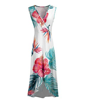 4a514d14b87972 Lily | Teal & Pink Tropical Surplice Maxi Dress - Women & Plus