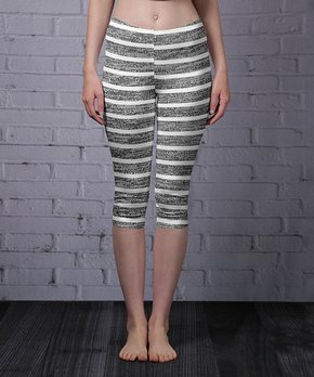 7a9ca8f95c73d Lily | Heather Gray & White Stripe Capri Leggings - Women & Plus