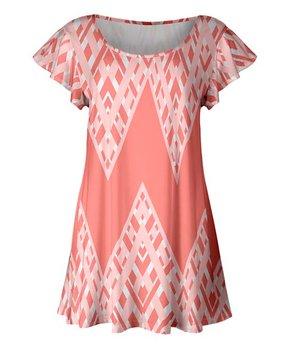4d54903e1b5 Lily | Coral & White Geometric Flutter-Sleeve Tunic - Women & Plus