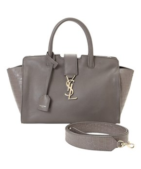 5defa825880e all gone. YSL | Pre-Owned Gray Downtown Baby Cabas Leather Satchel