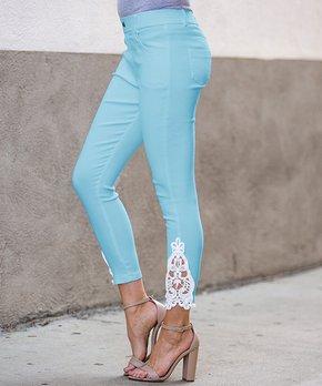d1dc5b1135366 Amaryllis | Sky Blue & White Crochet-Accent Jeggings - Women & Plus