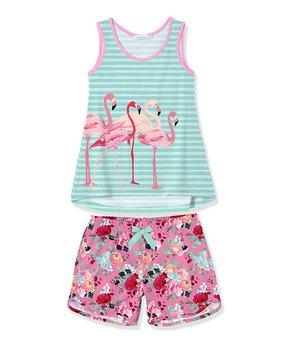 17a83dca4 Sunshine Swing | Turquoise Stripe Flamingo Tank & Pink Floral Shorts …