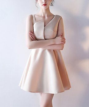 f00bf603 Vicky and Lucas | Champagne Asymmetrical Fit & Flare Dress - Women