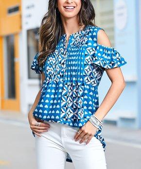 f234cd635 Reborn Collection | Blue Geometric Cold Shoulder Tunic - Women & Plus