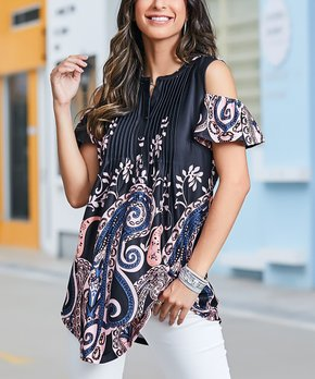 1153bf4c143 Reborn Collection   Black & Light Pink Psiley Cold Shoulder Tunic - W…