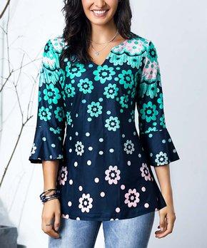 5caa90ec8ab5 Reborn Collection | Navy & Aqua Floral Mini Bell Sleeve Top - Women &…