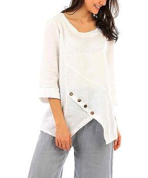 3e84ddd854fbeb Lin Passion | White Button-Accent Linen Asymmetrical Tunic - Women