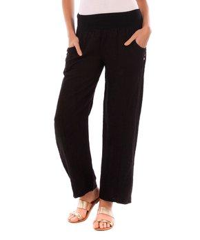 5debb2388cc6cf Lin Passion | Black Button-Accent Linen Lounge Pants - Women