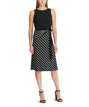 0f0c6362 Lauren Ralph Lauren   Black & Cream Stripe-Skirt Sleeveless Dress - W…