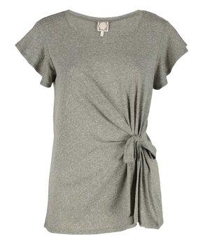 4ef8f742e0db Tru Self | Gray Side-Tie Flutter-Sleeve Top - Women & Plus