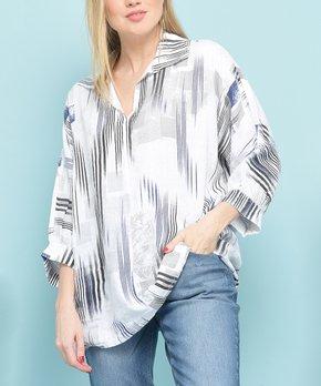 d3516e412587 La Fille du Couturier   White & Black Stripe Collared Linen V-Neck Tu…