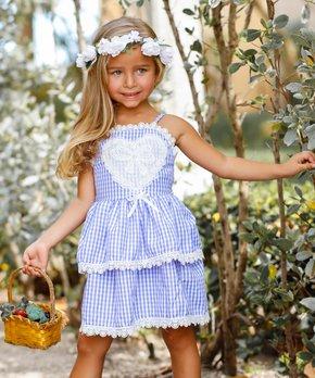 fc8b043afe3fa Mia Belle Girls   Blue Gingham Lace-Trim Heart Appliqué Sleeveless D…