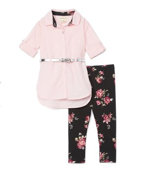 74bbd6eaf One Step Up   Pink Belted Shirt Dress & Black Floral Leggings - Toddl…