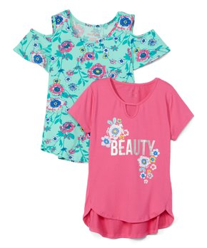 3c17a12e5650c8 Colette Lilly | Mint Floral Cutout Top & Pink 'Beauty' Keyhole Tee - …
