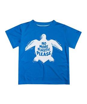 53d4dee0 Monday's Child | Blue 'No More Plastic Please' Turtle Tee - Infant, T…