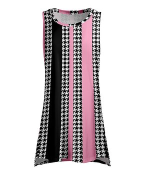 9246a08f05f Lily | Black & Pink Houndstooth Sleeveless Tunic - Women
