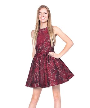 7563451b29860 Miss Behave Girls | Red Floral Camilla Fit & Flare Dress - Girls