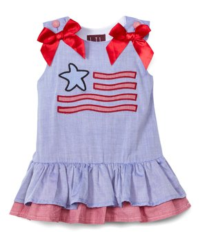 f4532bb39 Lil Cactus | Blue Gingham American Flag Drop-Waist Dress - Infant, To…