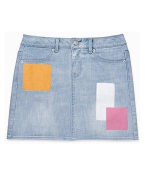 426a990c02 Calvin Klein Jeans | Stratus Blue Color Block Patch Denim Skirt - Gir…