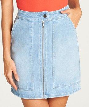 8bdf26771 Billabong | Pool Blue Zip-Front Pocket Denim Skirt - Juniors