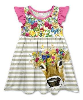 9ab9c6e2d Penelope Plumm | Pink Floral & Olive Stripe Cow Angel-Sleeve Dress - …