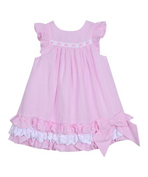 790a16b6c Pink & White Checkerboard Ruffle Seersucker Angel-Sleeve Dress - Infa…