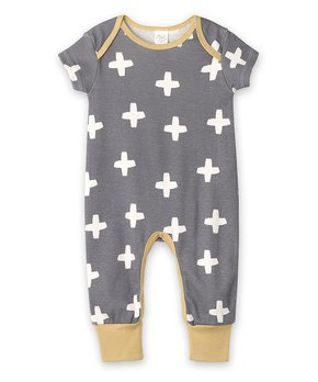 b5923a8ad91f6 Tesa Babe   Mustard Cross Short-Sleeve Playsuit - Newborn & Infant