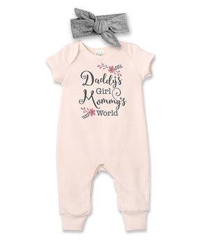 5c082b81c Tesa Babe | Blush 'Daddy's Girl Mommy's World' Romper & Gray Headband…