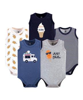 bd5d32762b81 Hudson Baby | White & Orange Ice Cream Sleeveless Bodysuit Set - Infa…