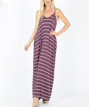 3d826a68466 Eggplant   Ivory Stripe V-Neck Cami Pocket Maxi Dress - Women
