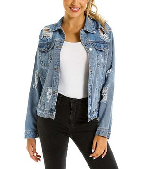 0ed1a0495 Belle de Jour | Blue Distressed Denim Jacket - Women