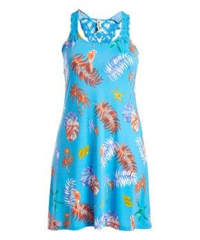 d51f06ec9add Shoreline   Blue Palm Leaf Racerback Sleeveless Dress - Women & Plus