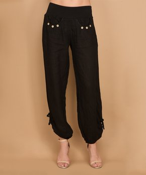 2e9de537131720 Vertigo | Black Side-Tie Bina Linen Pants - Women