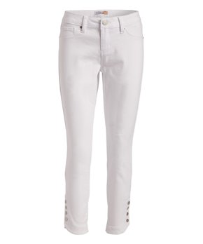 5aa4143d01a22c Royalty For Me | White Tummy Control Button-Accent Crop Pants - Women