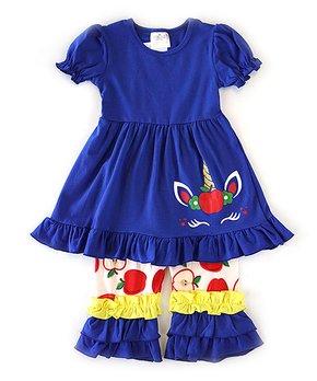 d57a1886d2528 Honeydew | Blue Unicorn A-Line Dress & Apple Ruffle Leggings - Girls