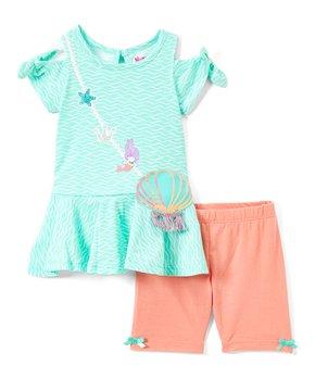 e01e1b9d14d54e Nannette Kids | Blue Mermaid Shell Tunic & Coral Leggings - Infant & …