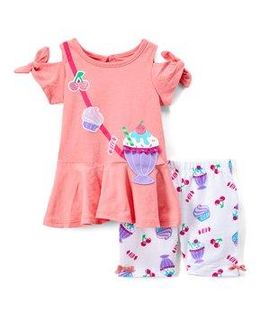 19f16e78a2b110 Nannette Kids | Coral Milkshake Tunic & Lavender Ice Cream Leggings -…