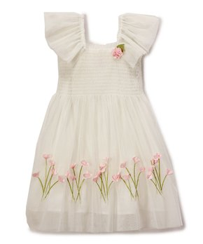 5120f54f3d53 Biscotti & Kate Mack | Ivory Floral Angel-Sleeve Dress - Girls